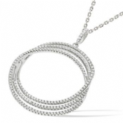 "J-Jaz Micro Pave 3 Row Round Cz Pendant with 18"" Chain"